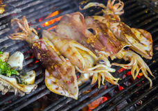 Squid seafood in BBQ Flames Royalty Free Stock Photo