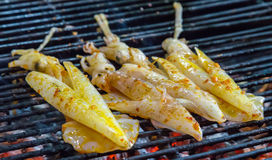Squid seafood in BBQ Flames Stock Photography