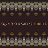Squid seamless border. Gold and Brown. Royalty Free Stock Images