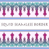 Squid seamless border. Painted sketch. stock illustration