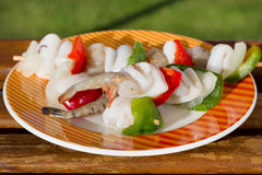 Squid with shrimps and vegetables Stock Images