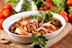 Squid soup in the bowl Royalty Free Stock Photos