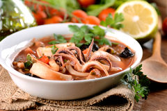 Squid soup in the bowl Stock Image