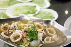 Squid Soup on the prepared casserole served. Royalty Free Stock Photos
