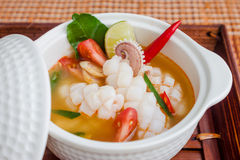 Squid spicy lemongrass soup Royalty Free Stock Image