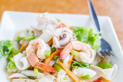 Squid Spicy Salad ,Thai seafood stock photography