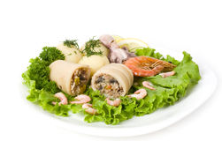 Squid Stuffed With Shrimp And Vegetables Stock Photo