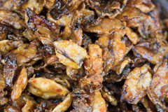 Squid. Sweet and spicy dried squid on the market  Thai style crispy fried squid Stock Image