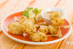 Squid Tempura Skewers Stock Photo