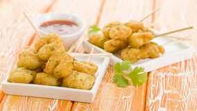 Squid Tempura Skewers Royalty Free Stock Images