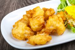 Squid tempura. Asian style cuisine on wood background stock image