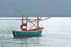 Squid-trap fishing boat Royalty Free Stock Image
