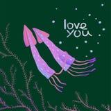 Squids Love Cartoon Greeting Card Design Stock Photography