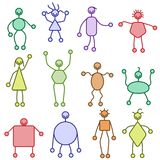 Squiggly people. Collection of twelve colorful stylized stick figures Stock Image