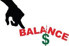 Squilibrio nelle finanze Fotografia Stock