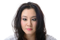Squint eyed crazy asian woman Stock Images