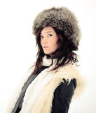 Squint winter girl. Cute squint winter the girl Royalty Free Stock Photo