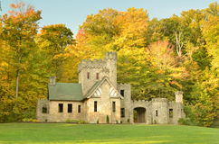 Squire's Castle with Autumn trees background. In metroparks Royalty Free Stock Photo