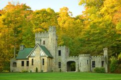 Squire's Castle with Autumn trees background. In metroparks royalty free stock image