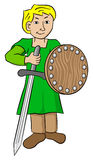 Squire with sword and shield Stock Photo