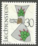 Squire Vaistli. Liechtenstein - stamp printed in1966, Series Coat of arms, Squire Vaistli Stock Photos