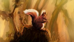 Squirell in warm sunny forrest vector illustration