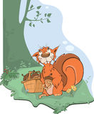 The squirrel and acorns Stock Images