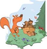 The squirrel and acorns. Cartoon Stock Image