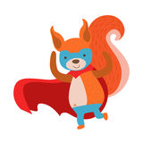 Squirrel Animal Dressed As Superhero With A Cape Comic Masked Vigilante Character. Part Of Fauna With Super Powers Flat Cartoon Vector Collection Of Stock Photo