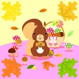 The squirrel in autumn vector illustration