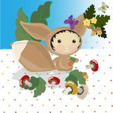 Squirrel on the background in polka dots and blye sky. Mushrooms, acorns, maple leaves, butterfly. flowers stock illustration