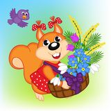 Squirrel with a basket with flowers Royalty Free Stock Images