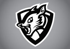 Squirrel black shield logo vector. Emblem illustration design idea creative sign Stock Photos