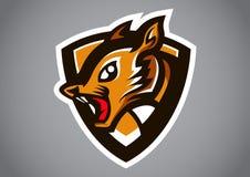 Squirrel brown shield logo vector. Emblem illustration design idea creative sign Stock Photography