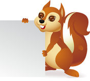 Squirrel cartoon with blank sign Stock Photography