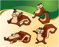 Squirrel Cartoons. Chocolate label, Wild Mammal, Baby Animal royalty free illustration