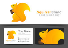Squirrel Corporate Logo and Business Card Sign Template. Creative Design with Colorful Logotype Visual Identity Composition Made of Multicolored Element Stock Photos