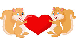 Squirrel couple holding red heart Stock Photo