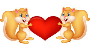 Squirrel couple holding red heart Stock Images
