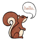 Squirrel drawing. Illustrated squirrel drawing with text and texture Royalty Free Stock Photography