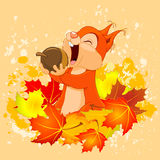 Squirrel Eats Nut. Illustration of cute squirrel eats nut on autumn background Royalty Free Stock Photos