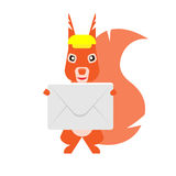 Squirrel with envelope Royalty Free Stock Images