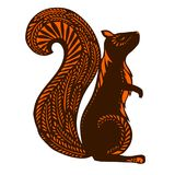 Squirrel with ethnic patterns, brown silhouette on a white   Royalty Free Stock Photography