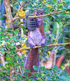 The squirrel gathers a nut that she`s never seen before. The squirrel climbs a tree with a very special Easter Egg nut signifying a special season royalty free illustration
