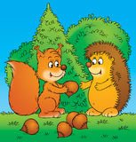 Squirrel and hedgehog Royalty Free Stock Photos