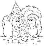 Squirrel and hedgehog with nuts Stock Photos