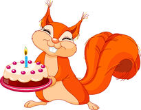 Squirrel holding cake. Illustration of Very Cute Squirrel holding birthday cake Stock Photos