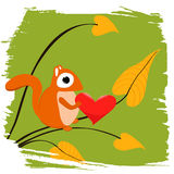 Squirrel Holding Heart Stock Image