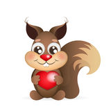 Squirrel holding heart Stock Photos
