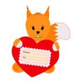 Squirrel la tenuta del cuore su un fondo bianco Immagine Stock Libera da Diritti